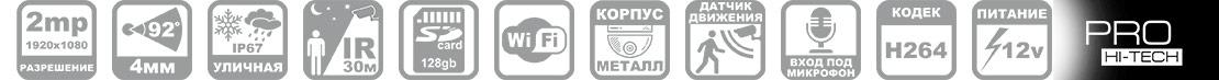 Параметры WIFI камеры с записью на карту памяти