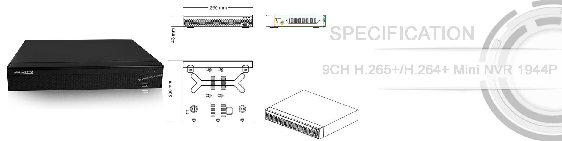Спецификация IP видеорегистратора H265+ Hikvision